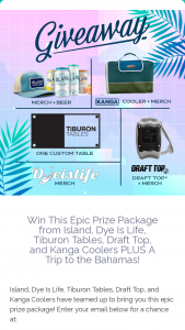 Island Brands – Epic Prize Package – Win Coastal Lager Dye Is Life Tiburon Tables Kanga Coolers and Draft Top