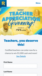Lampo Group Ramsey Solutions – Teacher Appreciation Giveaway – Win their prize as a check (3) Other winners will each receive $1000.00.