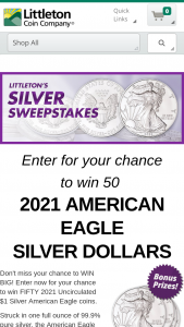 Littleton – April – Win Silver American Eagles valued at $49.95 each