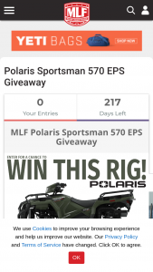 Major League Fishing – Polaris Sportsman Giveaway – Win Sportsman 570 EPS valued at approximately $7999.