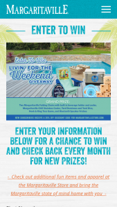 Margaritaville – Livin' For The Weekend Giveaway Sweepstakes