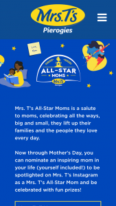 Mrs T's Pierogies – All-Star Moms Sweepstakes