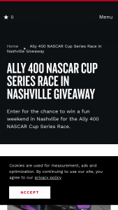 Nashville Convention & Visitors Corp – Ally 400 Nascar Cup Series Race In Nashville Giveaway Sweepstakes