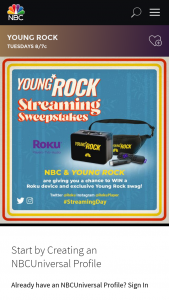 NBC Entertainment – Young Rock Streaming – Win consist of the following one (1) Roku Streaming Stick device  and one (1) Young Rock swag bag containing one (1) Young Rock lunch box and one (1) Young Rock fanny pack