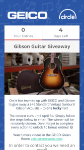 Opry – Geico Gibson Guitar Giveaway – Win a J-45 Standard Vintage Sunburst Gibson Acoustic with an approximate retail value of $3199.