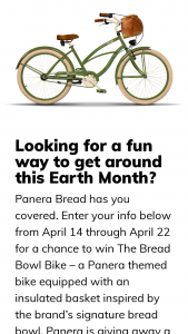Panera – Bread Bowl Bike Sweepstakes