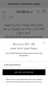 SAKS Fifth Avenue – $1500 Gift Card Sweepstakes