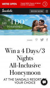 """Sandals And Beaches – """"say I Do"""" Q2 2021 Sweepstakes"""