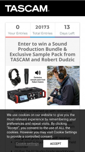 Tascam – Sound Production Bundle Contest – Win (1) DR-701D 6-Track Audio-for-Video Field Recorder (1) Pair TH-02 Studio Grade Headphones (1) TM-180 Studio Condenser Microphone (1) AURA-Exclusive 50 Sample Sound Pack from Robert Dudzic