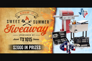 Texas International Produce Association – Texas 1015 Sweet Onions Kickin' It Sweet Summer Giveaway – Win Summer Party prize package which includes a Kenmore Gas Grill 20 piece stainless grilling set Roling Drink bin and Texas Partyware Kit ARV $580.