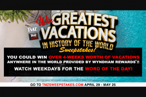 Tmz – Win Greatest Vacations In History Of The World – Win TWENTY-FOUR THOUSAND ONE HUNDRED AND TWENTY DOLLARS ($24120 USD)