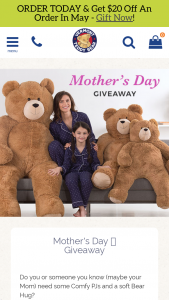 Vermont Teddy Bear – Mother's Day Giveaway – Win a Vermont Teddy Bear product valued up to $200 and 4 pajamas valued up to $400 total with a total retail value of $600.