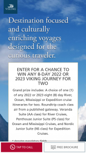 Viking Cruises – Q2 2022 Or 2023 8-day Journey Sweepstakes