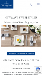 Villeroy And Boch USA – 20 Years Of Newwave Giveaway Sweepstakes