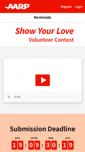 Aarp – Show Your Love Volunteer Contest – Win a $500 donation to the 501(c)3 or 501(c)4 non-profit organization of the Runners-up nominee's choice