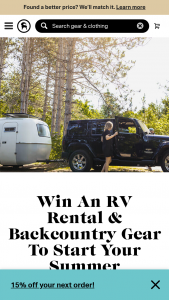 Backcountry – Outdoorsy – Win a gift card eligible for use on Backcountry with a value of $2000 and an RV rental credit redeemable with Outdoorsy for up to $2000.
