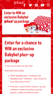 Bel Brands USA – Babybel Plus Wellness Giveaway – Win total) Each Grand Prize consists of a wellness box containing Sponsor-selected Babybel cheese (ARV $50 each).