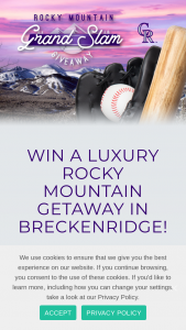 Breckenridge Grand Vacations – Rocky Mountain Grand Slam Giveaway 2021 – Win four tickets for Winner and three guests to attend a Colorado Rockies game of their choice