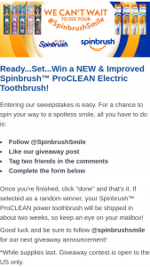 Church & Dwight – Spinbrush Power Toothbrush Giveaway – Win one (1) Spinbrush power toothbrush