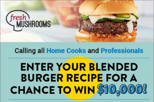 Food Network – Blended Burger Recipe Contest – Win win the following $10000 presented in the form of a check or wire transfer as agreed upon by Sponsor and Prize Winner