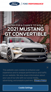 Ford Motor Company – 2021 Drift To Dirt – Win win a 2021 Ford Mustang GT Convertible (maximum MSRP $55000) or a 2021 Ford F-150 Raptor (maximum MSRP $75000).