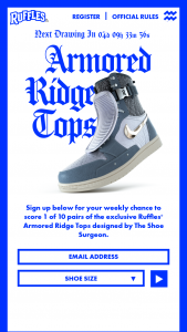 Frito-Lay – Ruffles Armored Ridge Tops Giveaway – Win size and one Ruffles Gear Box (contents one free 7.5oz bag of RUFFLES Original potato chips one t-shirt [size L] and two pins).