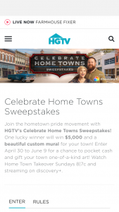 HGTV – Celebrate Home Towns – Win $5000 presented in the form of a check