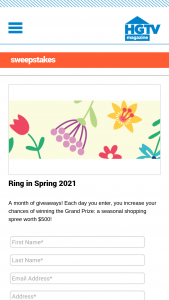 HGTV Magazine – Ring In Spring 2021 – Win one (1) daily prize with approximate retail values ranging from an ARV of $5 to an ARV of $250.