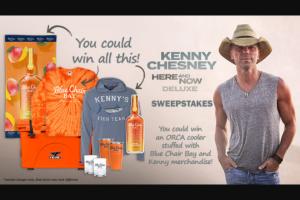 "Iheart – Kenny Chesney ""here And Now Deluxe"" – Win Rum Cream Beach Towel (ARV $35.00) One Blue Chair Bay Rum Tie-Dye Long Sleeve T-shirt (ARV $20.00) One Mango Rum Cream Tin Sign (ARV $25.00)."