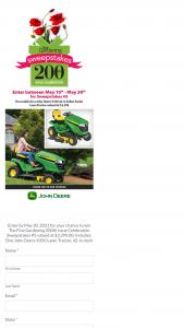 John Deere – Fine Gardening 200th Issue Celebration – Win John Deere X350 Lawn Tractor 42-in