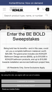 Kohler – Be Bold – Win Sponsor by mail  installation invoice from Grand Prize Winner prior to December 31 2021.