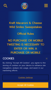 Kraft – Macaroni & Cheese Wild Smiles – Win ONE Kraft Macaroni and Cheese Ceramic Spoon Rest and Macaroni Smile Sticker (ARV $11).