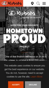 Kubota – Hometown Proud – Win the winner's choice of a Kubota Z200 residential zero-turn mower or a Kubota BX sub-compact tractor