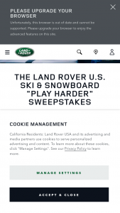 Land Rover – Ski & Snowboard Play Harder Sweepstakes