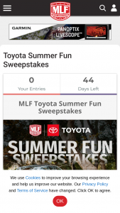 "Major League Fishing – Toyota Summer Fun – Win by one (1) winner (""Winner"") which shall consist of one (1) 2021 Toyota Tundra Trail Edition CrewMax 4×41 with a Manufacturer's Suggested Retail Price (""MSRP"") of $45170."