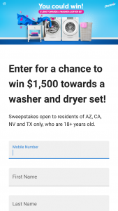 Momares – Ensueño – Win of one (1) $1500.00 check for the purchase of a washer and dryer
