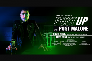 Monster Energy – Chance To Post Up With Post Malone – Win exclusive on-line fan experience with Post Malone via a video call one Monster Energy and Post Malone limited edition co-branded Xbox Series X console and a Monster Energy® gaming chair