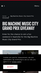Nashville Convention & Visitors Corp – Big Machine Music City Grand Prix Giveaway Sweepstakes