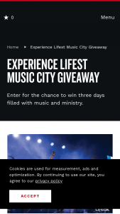 Nashville Convention & Visitors Corp – Experience Lifest Music City Giveaway Sweepstakes