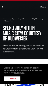 Nashville Convention & Visitors Corp – Spend July 4th In Music City Courtesy Of Budweiser Giveaway Sweepstakes