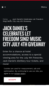 Nashville's Convention & Visitors Corp – Jack Daniel's Music City July 4th Giveaway Sweepstakes