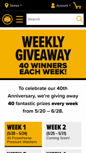 Northern Tool – 2021 40th Anniversary Prize Giveaway – Win below with its corresponding Entry Period and individual ARV