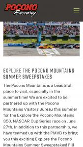Pocono International Raceway – Explore The Pocono Mountains Summer Sweepstakes