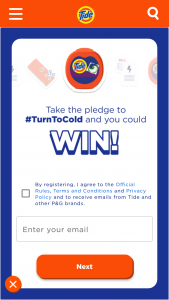Procter & Gamble – #turntocold With Tide And Win – Win $2000 to help pay winner's energy bills for a year awarded in the form of a check