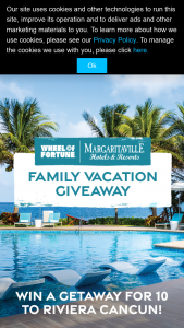 Quadra Wheel Of Fortune – Margaritaville Resorts Family Vacation Giveaway – Win of a trip for grand prize winner and up to nine guests to the Margaritaville Island Reserve Riviera Cancun in Cancun Mexico for four nights