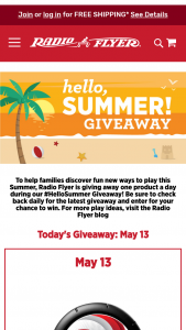Radio Flyer – Hello Summer Giveaway – Win a Radio Flyer product