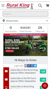 "Rural King – May 2021 Giveaway – Win Mini Bike Black/Green 196cc with an Approximate Retail Value (""ARV"") of $700."