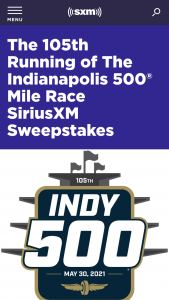 Siriusxm – 105th Running Of The Indianapolis 500 Mile Race Sweepstakes