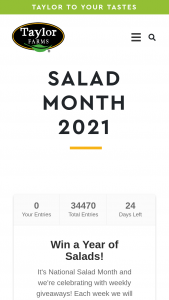 Taylor Farms – Salad Month 2021 – Win a year of Taylor Farms Chopped Kit FREE Coupons and a Kitchen Kit complete with custom Taylor Farms Cutting Board