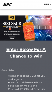 Ufc – 263 Best Seats Sweepstakes